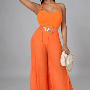 Orange Sheer Wide Leg Stretch Jumpsuit